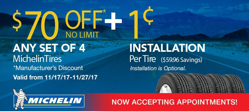 $70 off any set of 4 Michelin Tires + $0.01 Installation Per Tire At Costco 11/17-11/27