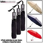 3-Pack: totes Automatic Open / Close Compact Lightweight Folding Umbrella $26.99 w/ Free Shipping