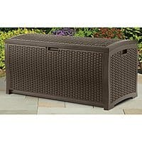 Amazon Deal: 73-Gallon Suncast Wicker Resin Deck Box (Mocha Brown)