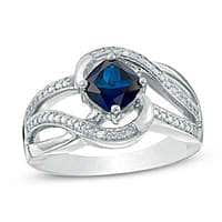 6mm Blue Sapphire & Diamond Accent Swirl Ring in Sterling Silver (Size 7)