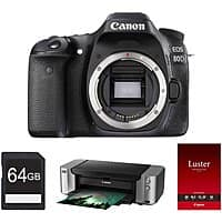 Canon 80D 24.2 MP CMOS DSLR (body) + Pro-100 & 64GB Card