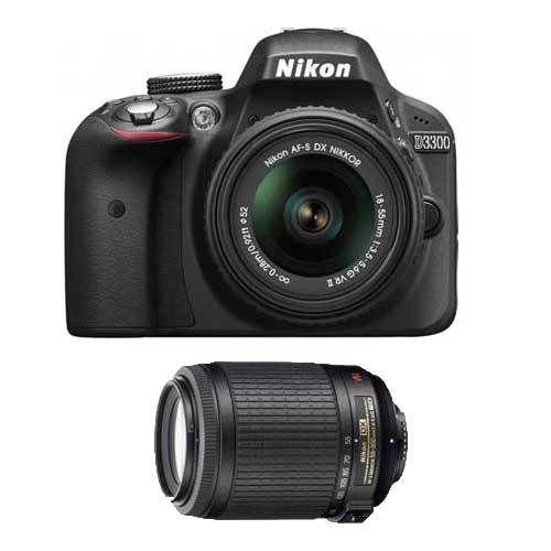 Nikon D3300 DSLR Camera w/ 18-55mm VR II + 55-200mm VR Lens (refurbished) $400 + Free Shipping.