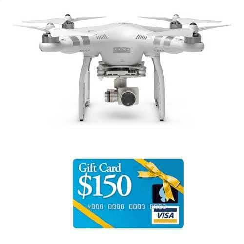 DJI Phantom 3 Quadcopter Drone with 1080p HD Video Camera + $150 Visa Gift Card $999 + free shipping