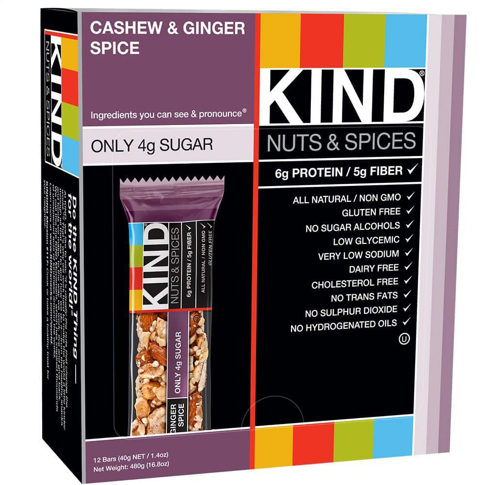 KIND Nuts & Spices, Cashew & Ginger Spice, 1.4 Ounce, 12 Count - AMAZON - as low as $8.29 w/ S&S