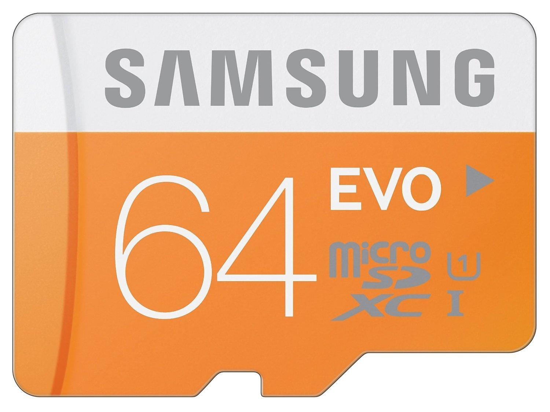 Walmart   sale  Samsung 64GB EVO Class 10 microSD Card with Adapter  under $18