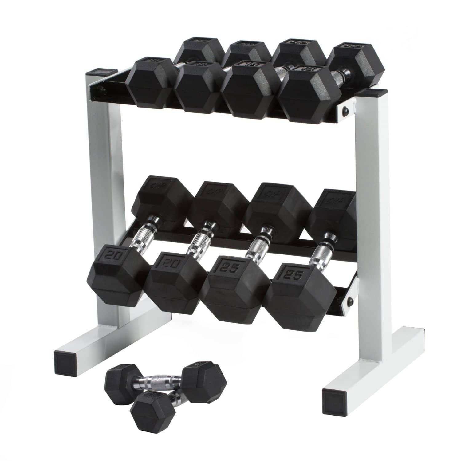 Rubber Dumbbell Set: 150-Pound CAP Barbell Cast Iron Rubber Hex Dumbbell Set