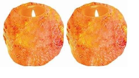 Set Of 2 WBM Himalayan  Ionic Crystal Natural Candle Holders. $5