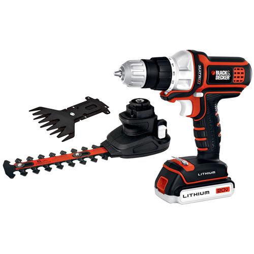 Black & Decker MATRIX 20V MAX* Lithium Drill w/ Hedge Trimmer and Shear Attachment $54.99 + free shipping
