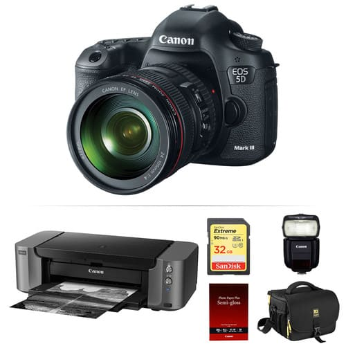 Canon 5D Mark III DSLR + 24-105mm Lens + 430EX III Flash + PRO-10 Printer + Goodies $2750 after $350 Rebate + Free Shipping