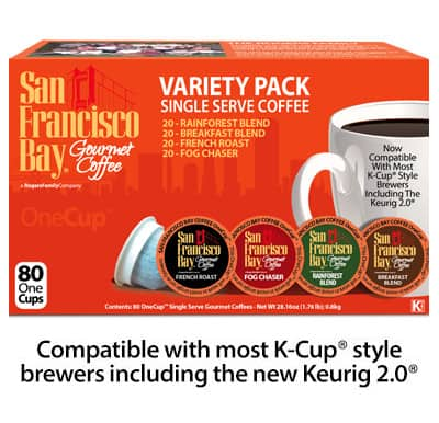 San Francisco Bay Coffee: $0.28 per k-cup (Direct from Rogers Family Gourmet Coffee)