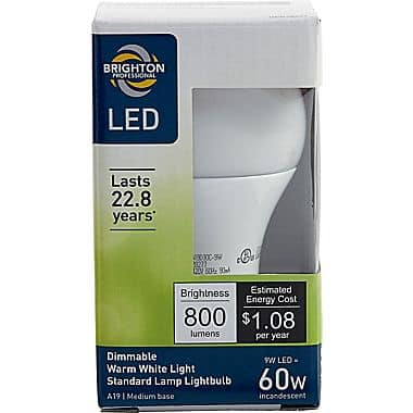 Lowest Price - Brighton Professional 9-Watt LED Dimmable Light Bulb: Flood $3.79, A19 $2.84 + Free Store Pickup