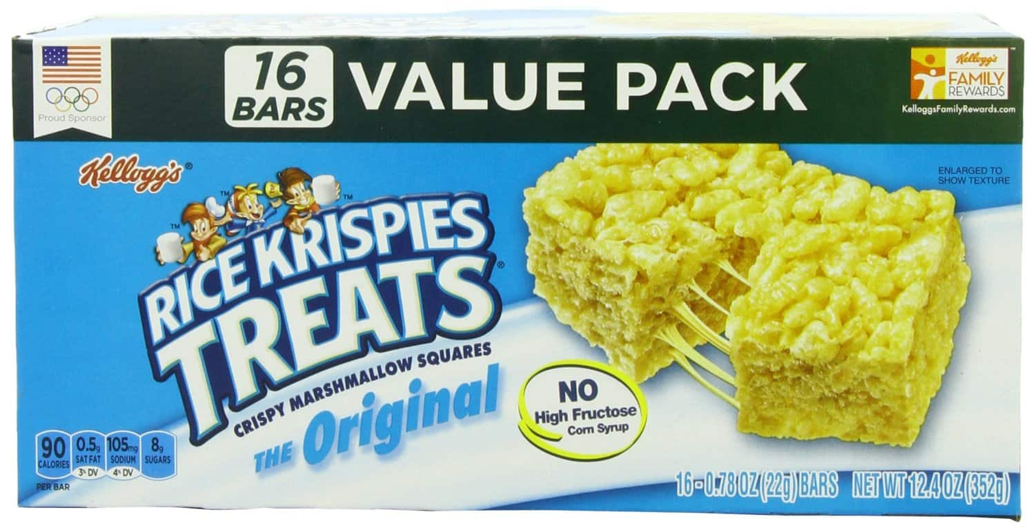 6-Pack of 16-Count Rice Krispies Treats Bars (Total = 96-Count) $15.36 or Less + Free Shipping Amazon.com