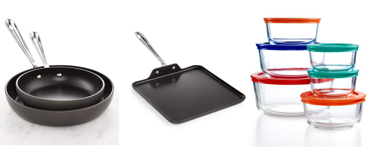 "All-Clad HA 8"" & 10"" Pans + 11"" Griddle + 12-pc Pyrex + $25 Macy's GC  $101 after Rebate + Free S&H"