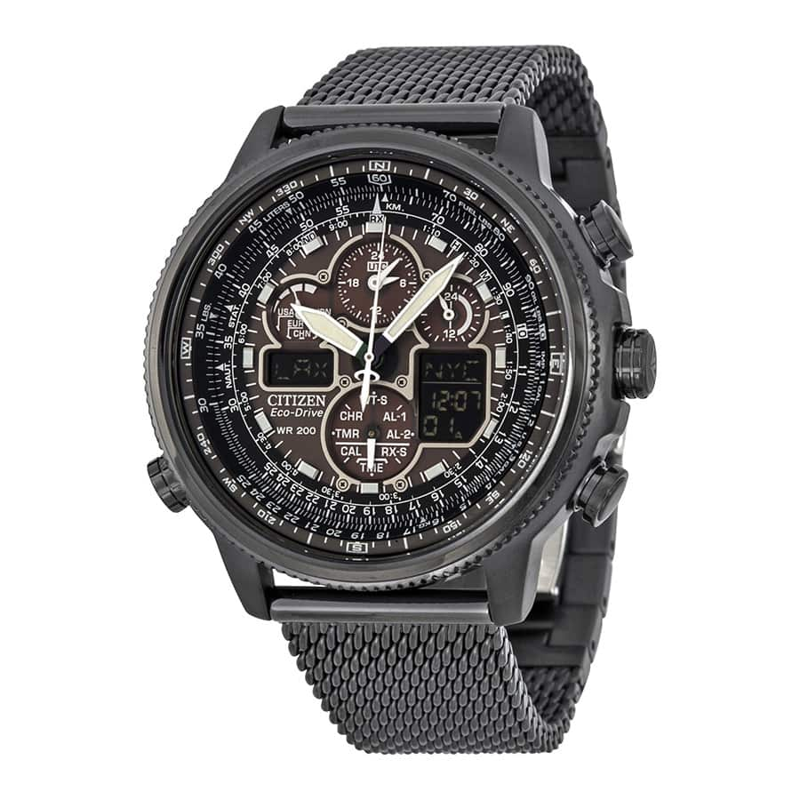 CITIZEN Navihawk A-T Eco-Drive Black Dial Black Stainless Steel Chrono Men's Watch $359.99 Shipped