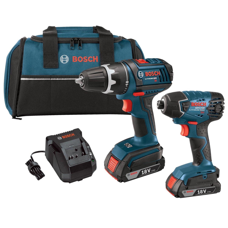 "Bosch 18v LI 1/2"" drill & impact driver kit + 2 2.0Ah batteries + wireless charging starter kit w/ battery $149 shipped"