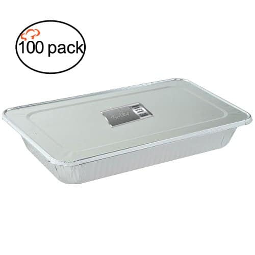 Pack of 100 TigerChef  Durable Full Size Steam Table Deep Aluminum Pan with Aluminum Foil Lids. $39 + Free Shipping @ Amazon