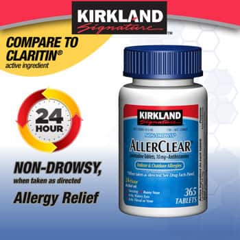 Kirkland Signature Allergy Relief: 365-Ct Tablets (various) from $9.99 (member price) or less + Free Shipping