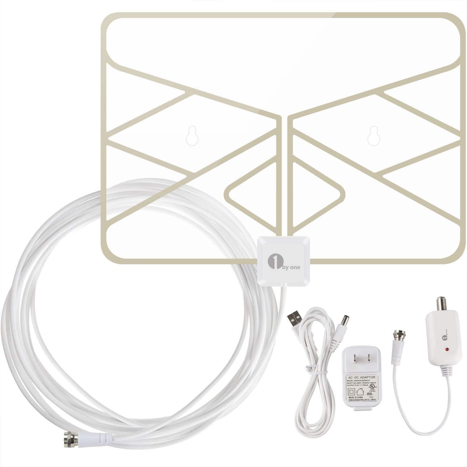 50-Mile Digital Indoor Amplified Window (leaf) HDTV Antenna w/ 20Ft Cable $19 + free shipping