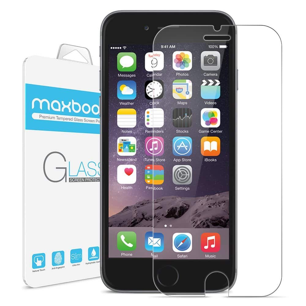 Maxboost® [Tempered Glass] iPHone 6 6s Screen protector $2 FS with Prime