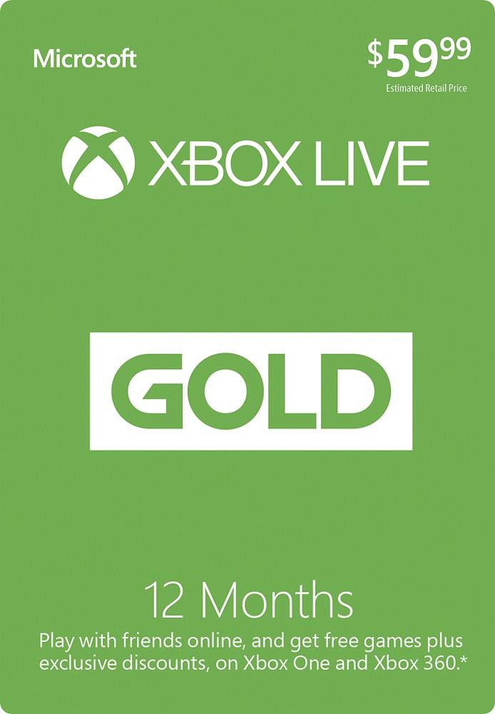 GCU Members: 12-Month Xbox Live Gold Membership Card  $35 + Free Shipping