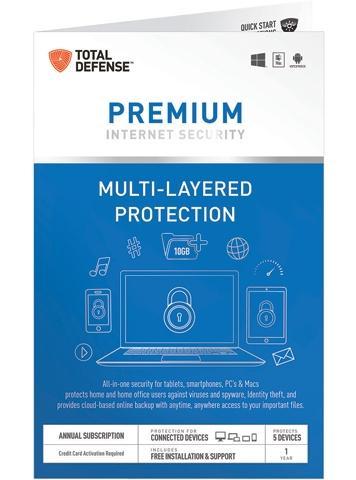 Kaspersky Total Security 2016 (3 PCs - Key Card) or Total Defense Premium Internet Security (5 User) + $5.00 Newegg Gift Card for Free After Rebate + S&H @ Newegg.com