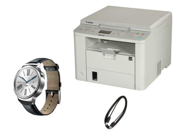 Huawei SmartWatch + Canon imageCLASS D530 Duplex Monochrome Printer + 10' USB Cable: w/ SS Band $299 or w/ Leather Strap $249 + Free Shipping