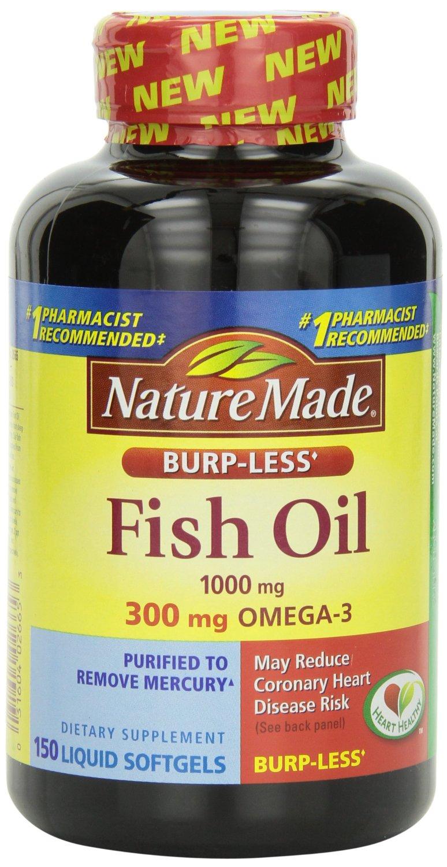 Nature Made Burp-less Fish Oil, 1000 Mg, 300 mg Omega-3, 150 Liquid Softgels - $5.14 AC S&S @ Amazon