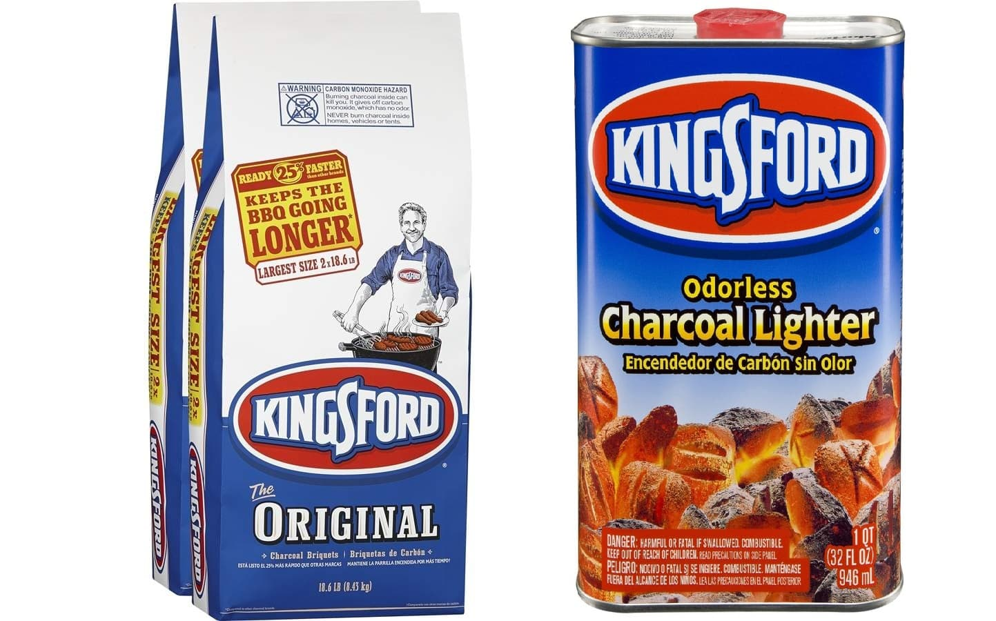 Lowes - TODAY ONLY Kingsford 2-Pack 18.6-lb (37.2-lb Total) Charcoal Briquettes + 32-oz Charcoal Lighter Fluid $9.88