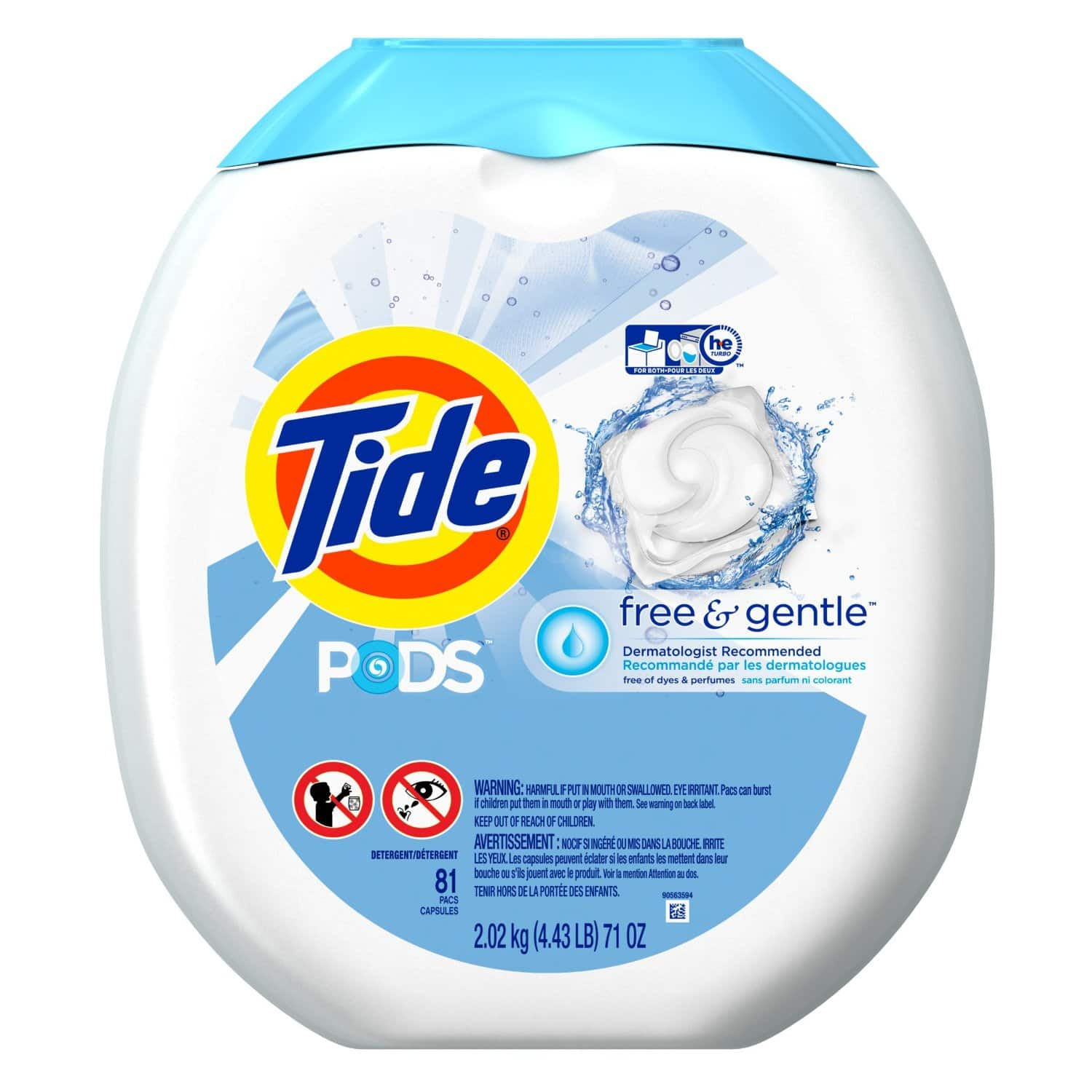 81-Ct Tide Pods Free & Gentle Laundry Detergent Pacs (Free & Gentle) $13 & More + Free S&H at Amazon