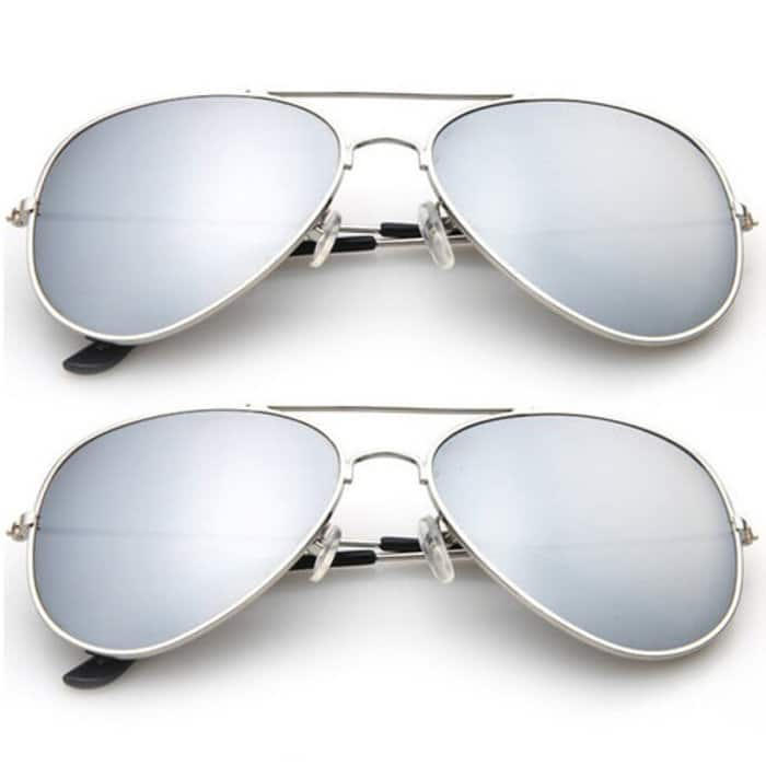 2-Pack Aviator Sunglasses (Silver Metal Frame) $6 + Free Shipping