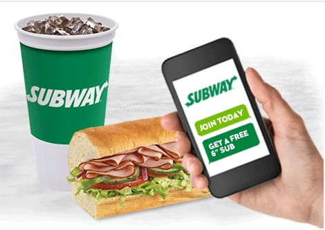 free 6 inch sub SUBWAY w/ 30 oz drink purchase - TEXT SIGNUP