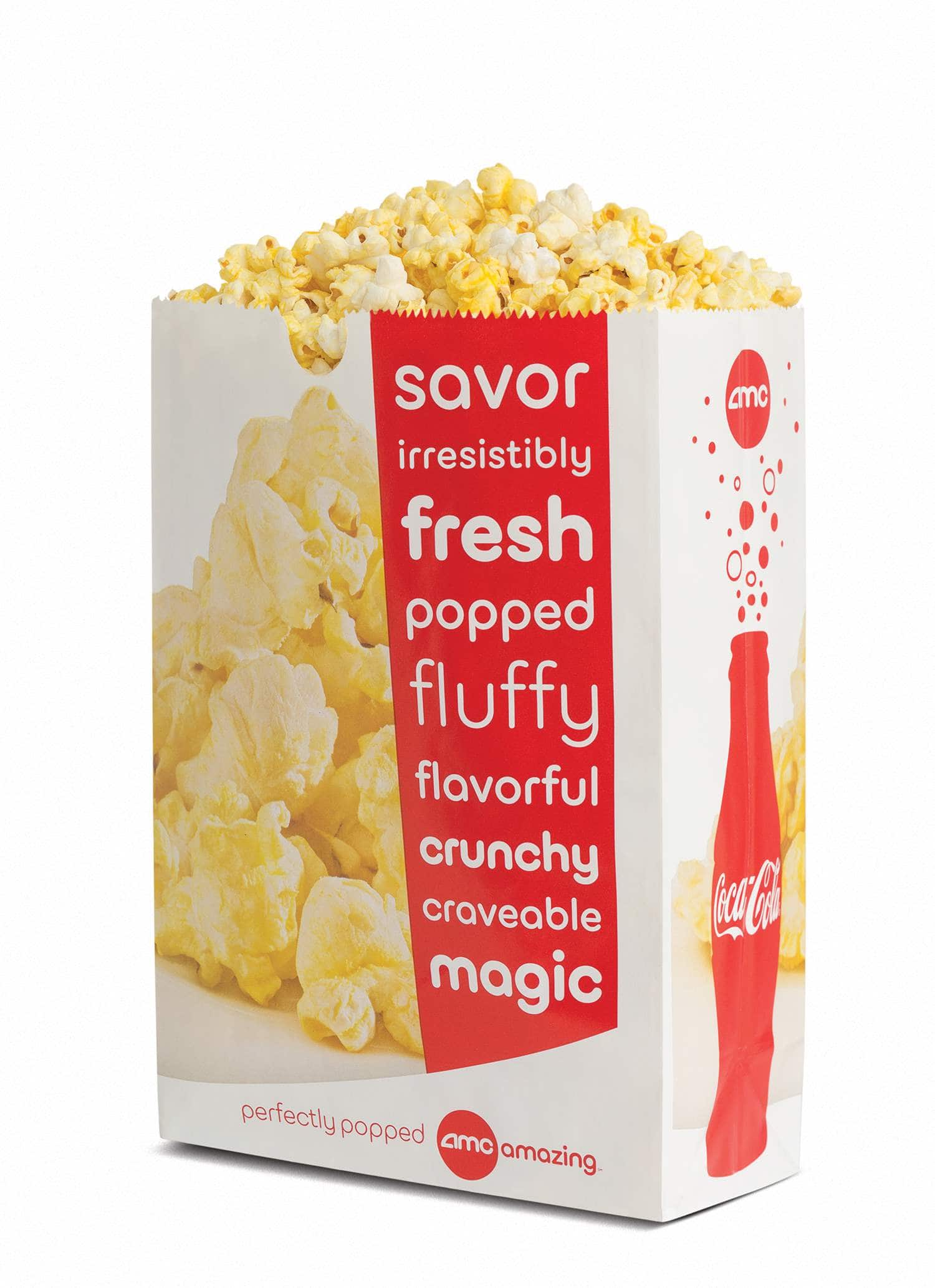 AMC Popcorn prices start at $6 for small and go up to $8 for large popcorn. Guests can also order nachos, drinks, candy, and hot dogs. Certain locations, especially the new dine-in movie theaters, offer additional snacks and food items such pizza, French fries, mozzarella sticks, sandwiches, and additional items that cost between $ and $ per item or meal.