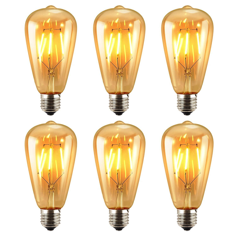 Antique LED Bulb, Quality 4w ST64 Vintage Edison Dimmable Light Bulb - LED Lighting Soft White 2700K - (Pack of 6) $17.99 @Amazon FBA
