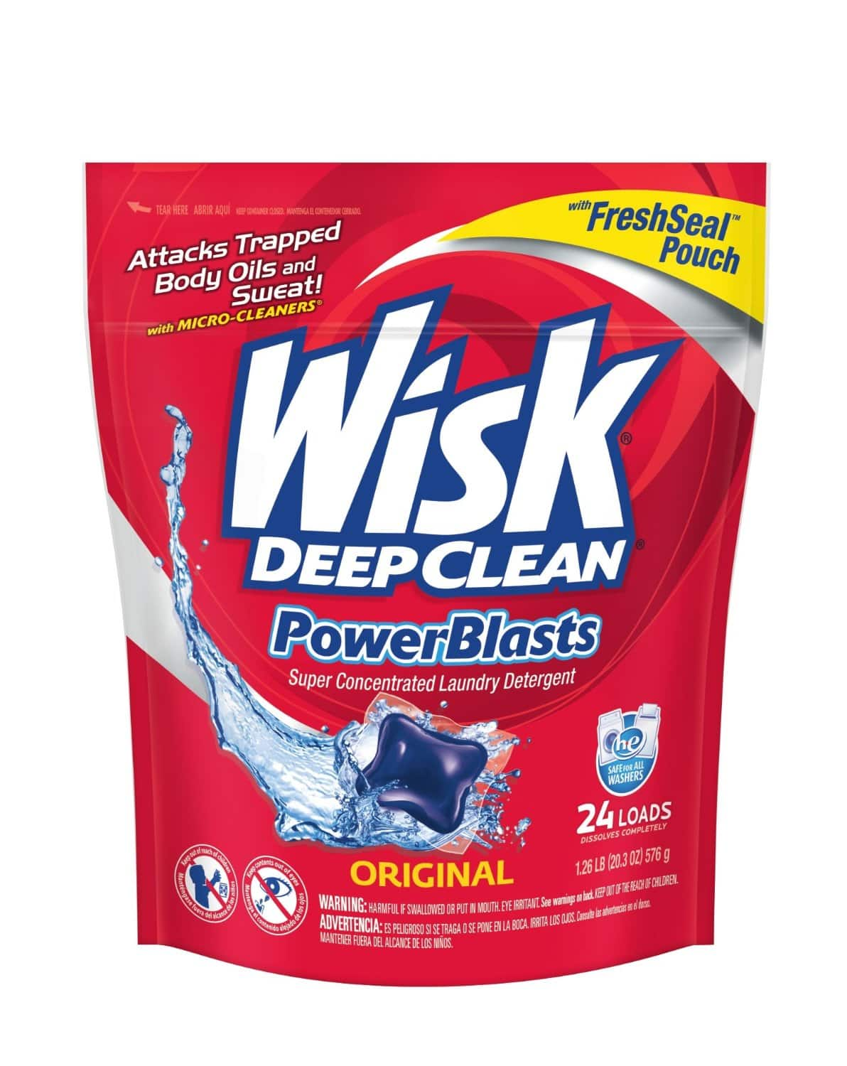 Wisk Deep Clean PowerBlasts Laundry Detergent, 24 Count $3.83 or less w/ S&S