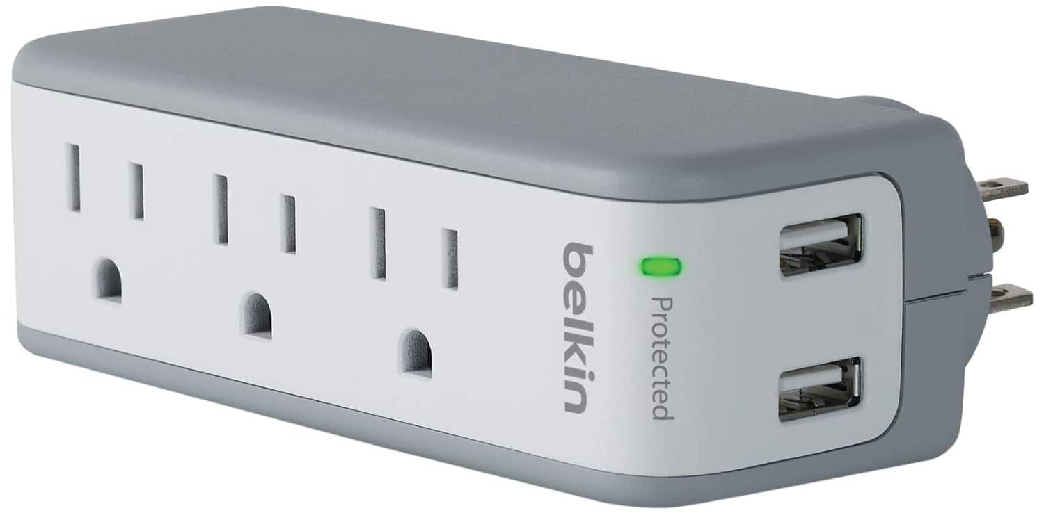 Belkin BST300 mini surgeplus travel swivel surge protector with usb ports for $13.99 on Amazon