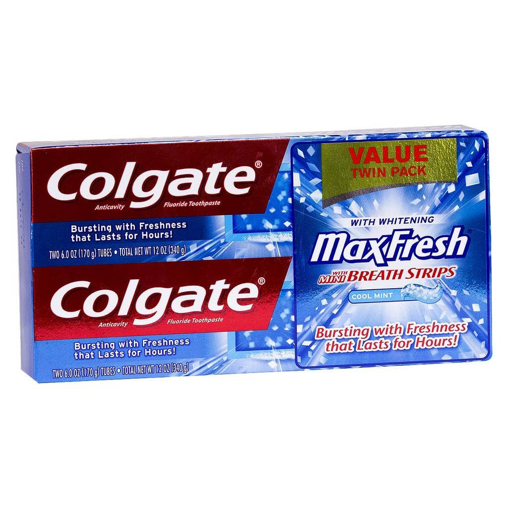2-Pack 6oz Colgate Max Fresh Toothpaste + Breath Strips  $2.50 & More