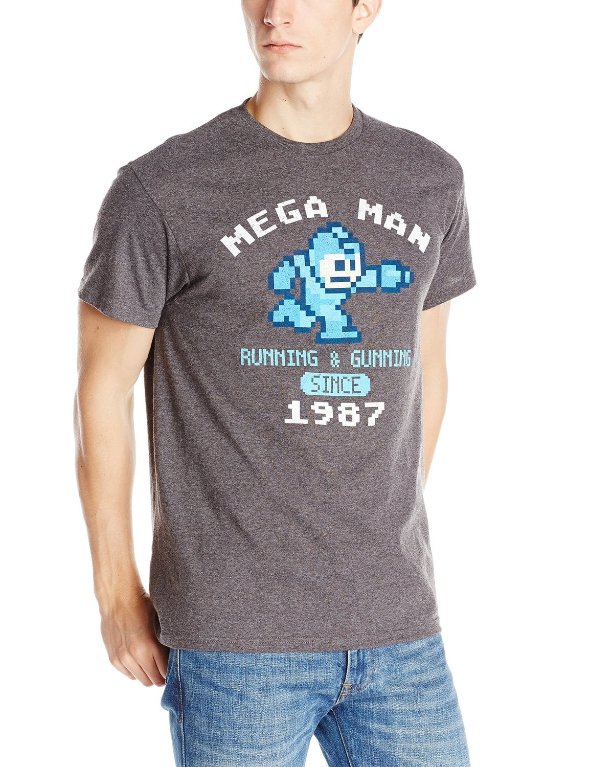 Men's Mega Man Vintage T-Shirt (Charcoal Heather)  $7.50