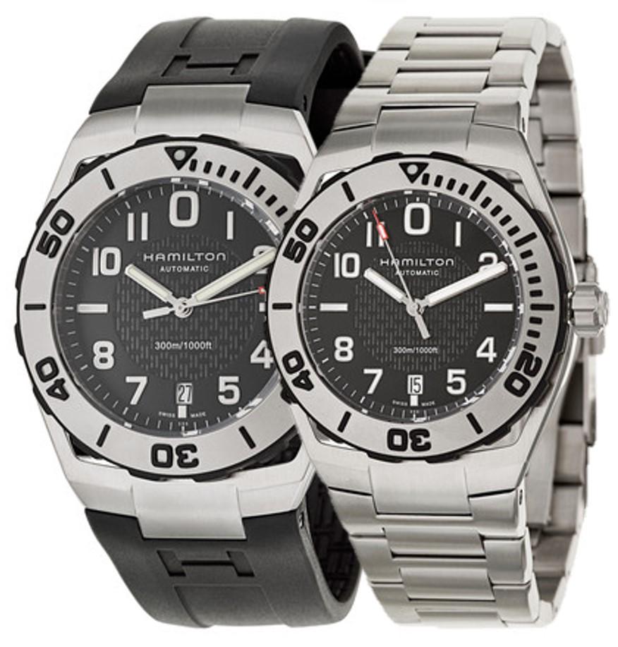 Hamilton Men's Khaki Navy Sub Automatic Watch: w/ Stainless Steel Bracelet $399, w/ Rubber Strap $359 + Free Shipping
