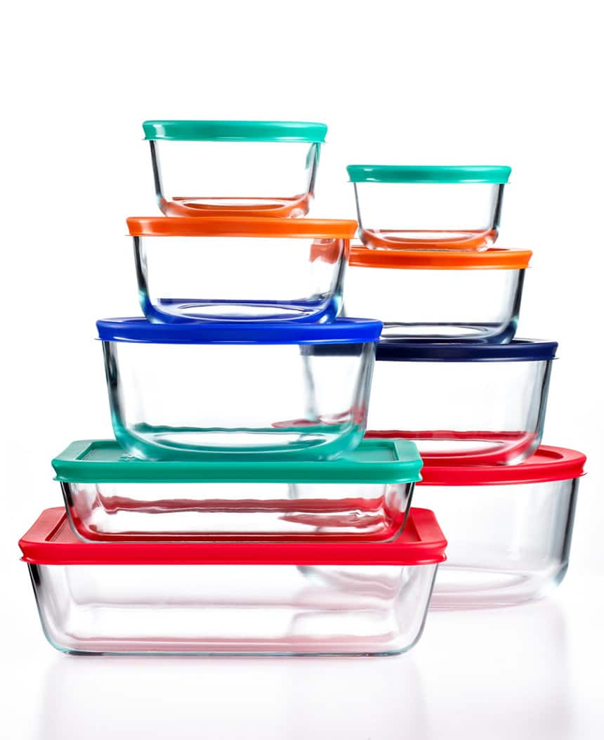 18-Piece Pyrex Simply Store Set w/ Colored Lids $21.24 + free store pickup at Macys