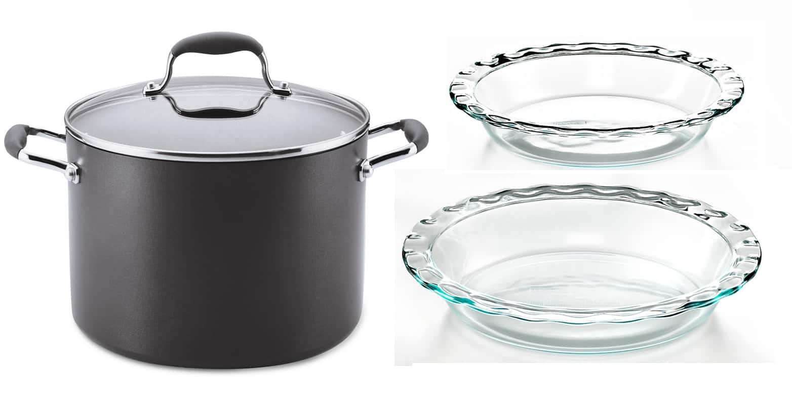 Anolon Advanced 10-Qt Stockpot or Covered Wok + 2-Ct Pyrex Pie Plates  $31 & More + Free Store Pickup