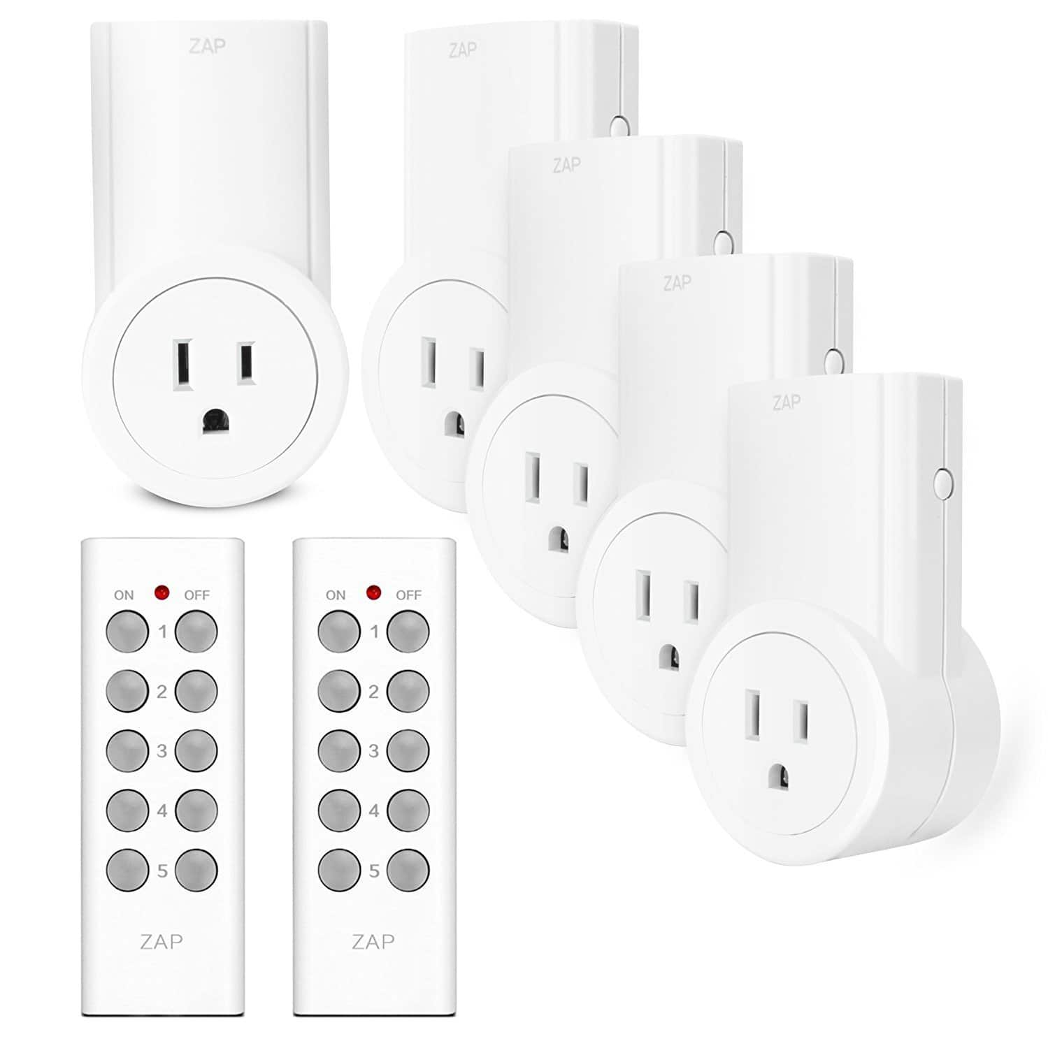 5-Pack Etekcity Wireless Outlet Light Switch w/ 2 Remotes $21.50 AC @ Amazon