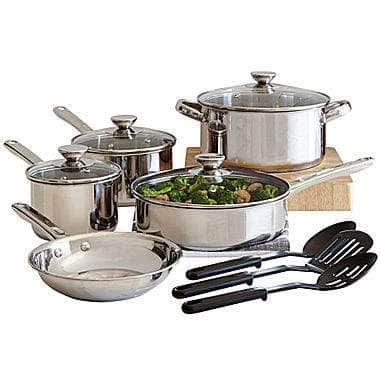 12-Piece Cooks Stainless Steel Cookware Set $25 (after $20 rebate) + Free Pickup at JCPenney