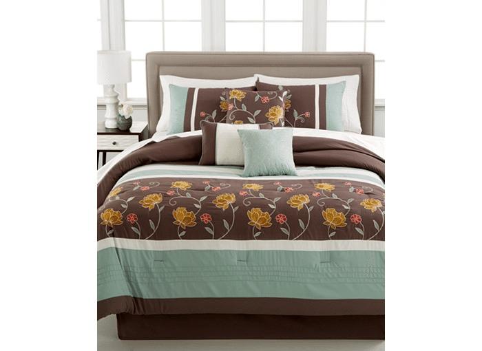 7-Piece Embroidered Comforter Set (Comforter, Shams, 3 Decor Pillows, Bedskirt) $40 + free store pickup at Macys