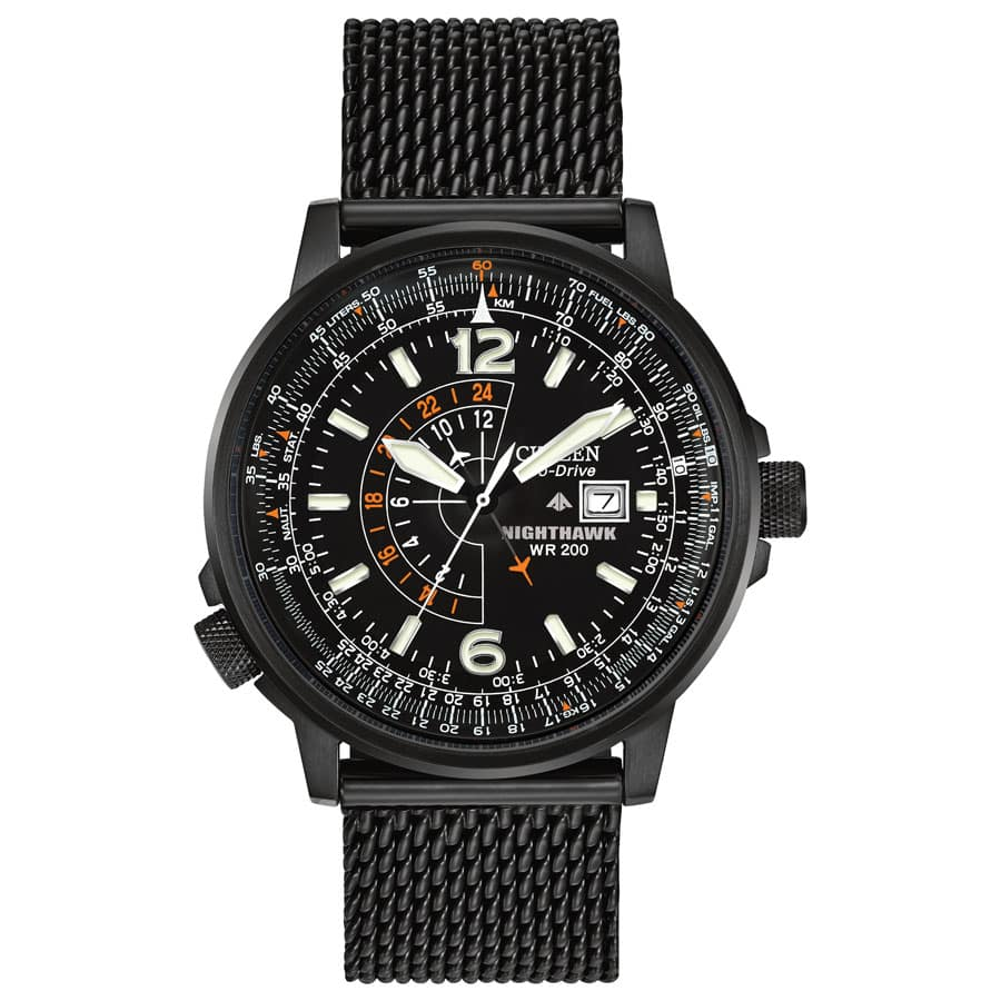 CITIZEN Nighthawk Pilots Black Dial Stainless Steel Mesh Men's Watch - $179.99 shipped (after coupon)