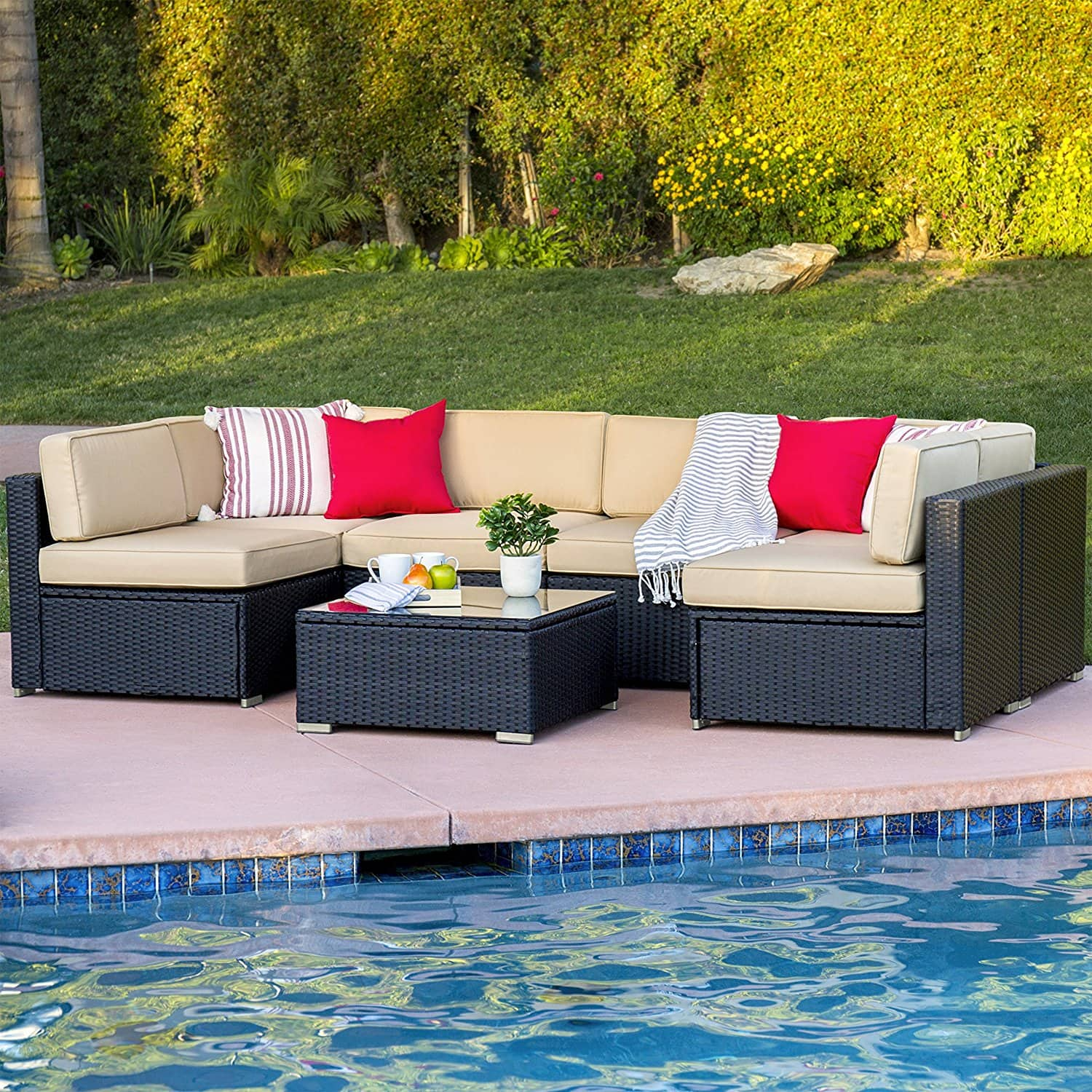 7 Piece Outdoor Wicker Sectional Sofa w Table Slickdeals