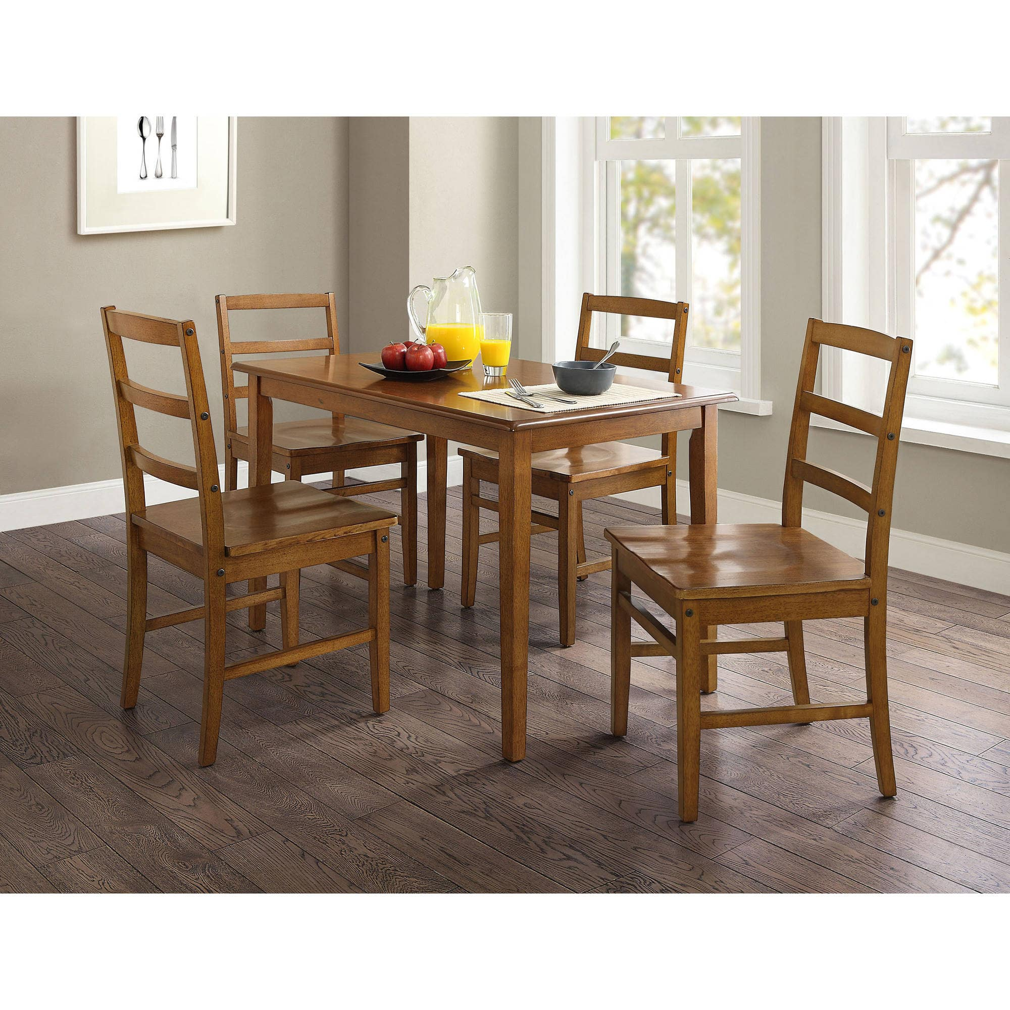 5 Piece Mainstays Dining Set Walnut Finish Slickdealsnet