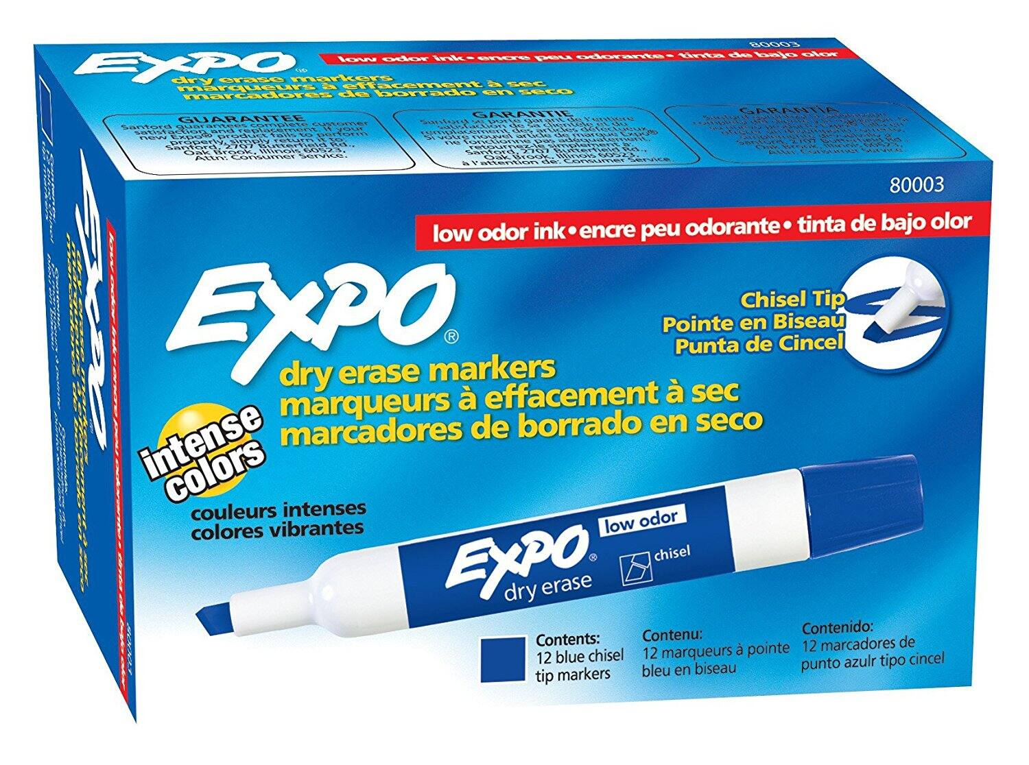 12-Count EXPO Low-Odor Dry Erase Markers (Chisel Tip, Blue) $5.42 or Less + Free Shipping w/ S&S
