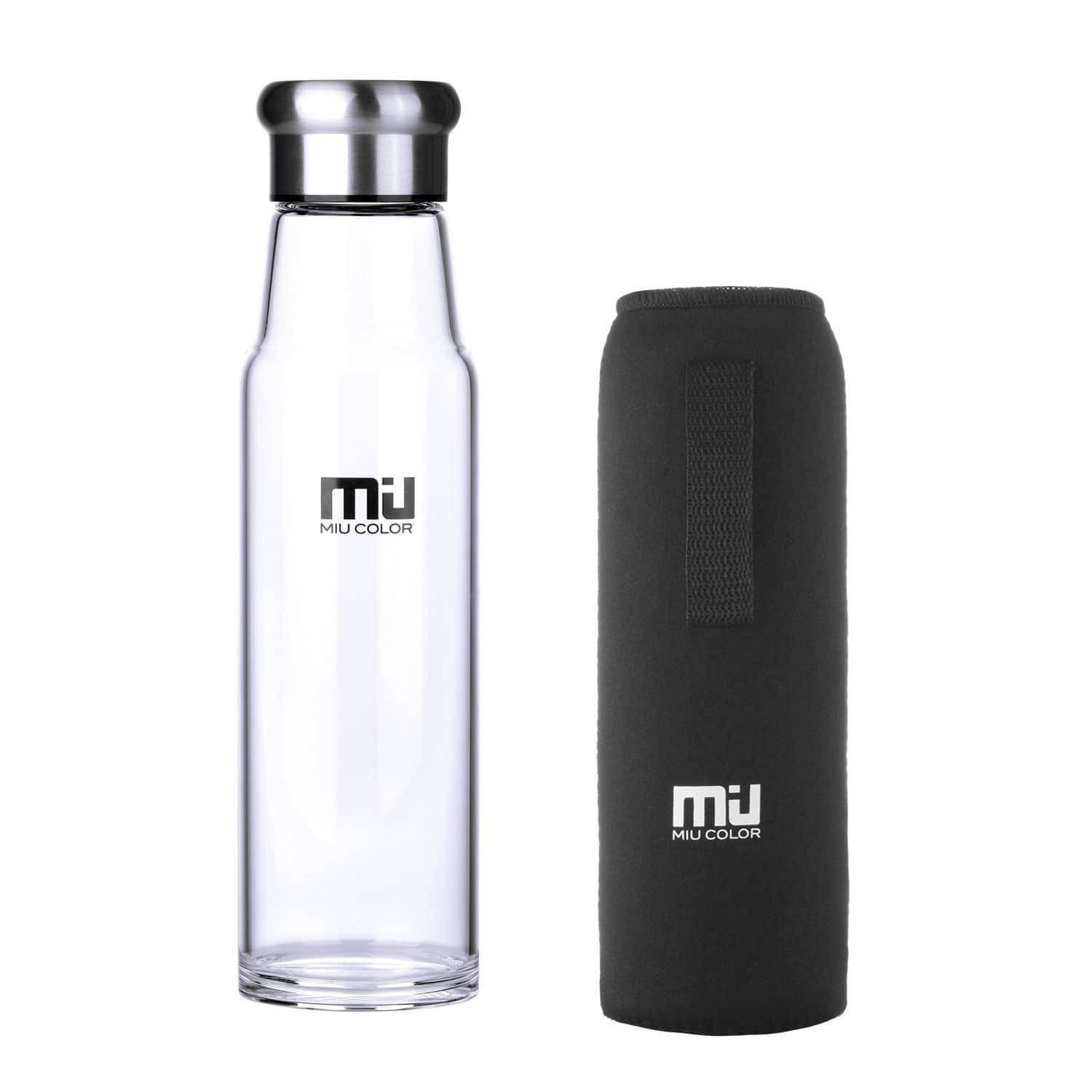 24.5oz MIU COLOR Glass Water Bottle w/ Nylon Sleeve (various colors) $10 + Free Shipping & More