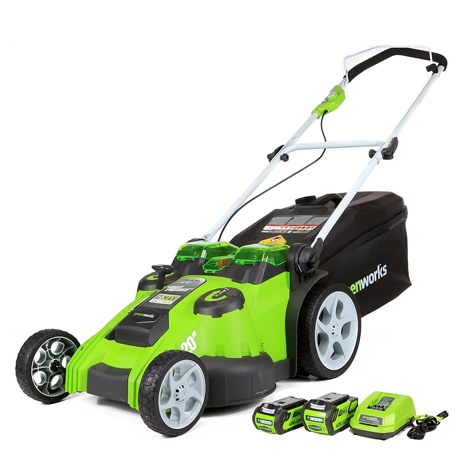"Greenworks 20"" 40V Twin Force Cordless Lawn Mower w 4 0 AH & 2 0 AH"