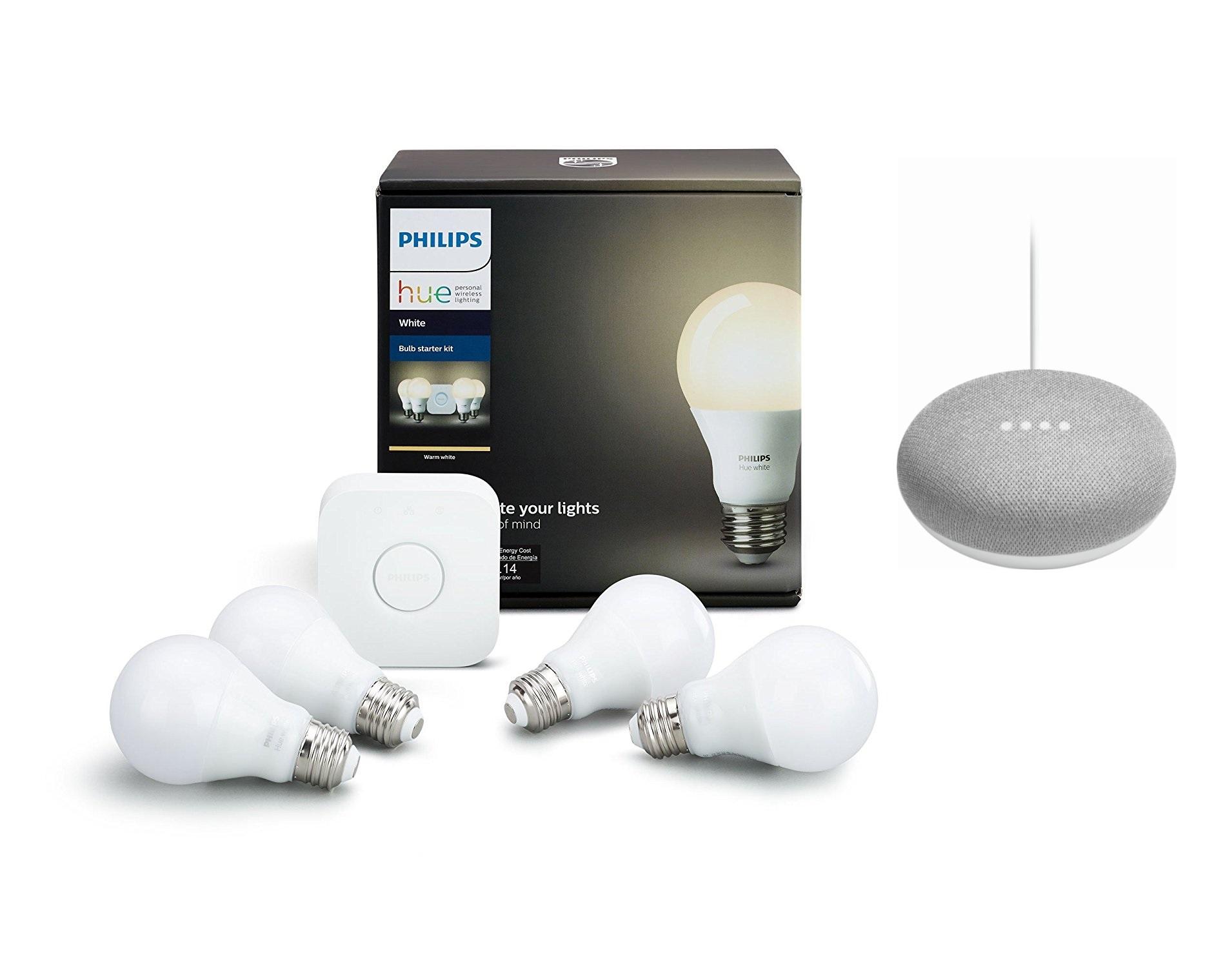 Philips Hue White A19 4-Bulb Starter Kit + Google Home Mini ...